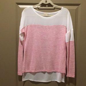 Pink & White Shear Long Sleeve Top